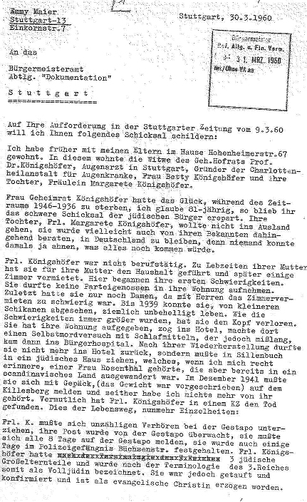 Brief von Emmy Maier